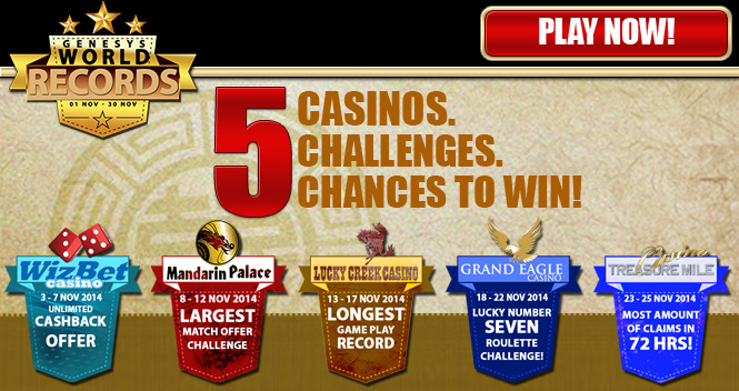 5 Casinos. 5 Challenges. 5 Chances to Win!